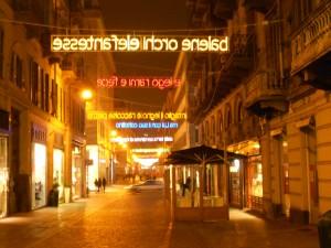 電気料金が高いイタリアだが、繁華街はネオンで飾りつけられていた。(トリノにて)